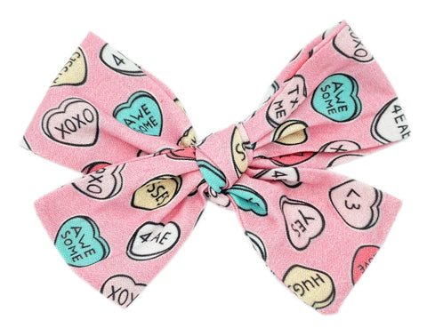 Pink Conversation Hearts Bow