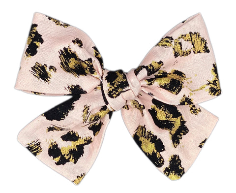 Rosé Gold Animal Print Bow