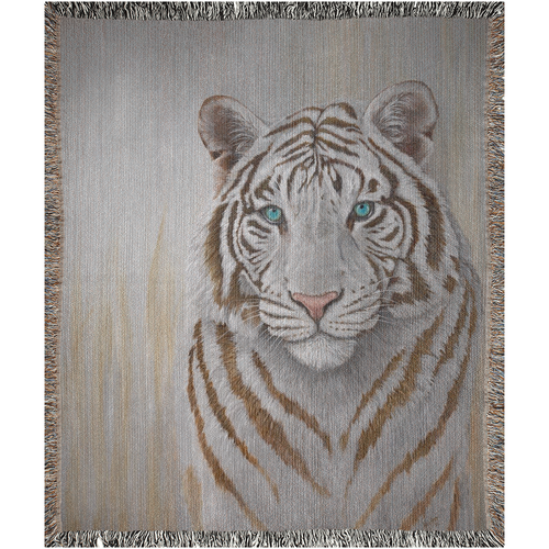 Blue Eyed Beauty White Bengal Tiger Woven Blanket