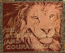 Load image into Gallery viewer, Lion Face Maroon Cotton woven blanket Be Strong and Courageous from original artwork of JungleCatArt.com artist Mary Anne Pellegrini