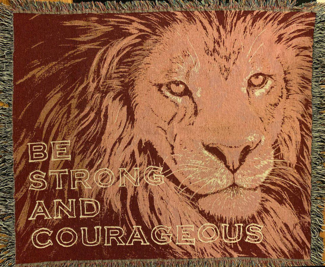 Lion Face Maroon Cotton woven blanket Be Strong and Courageous from original artwork of JungleCatArt.com artist Mary Anne Pellegrini
