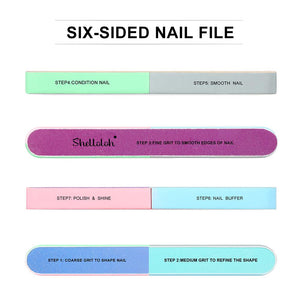 Shelloloh 6-Way Nail Buffer Files Grinding Nail Tools Sanding Files