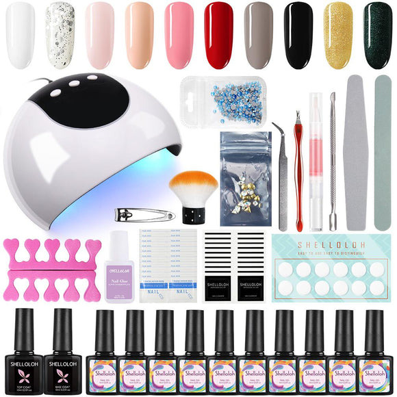 Shelloloh 24W LED UV Lamp 10/12 Colors Nail Polish Base Top Coat Manicure Tools Set