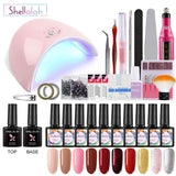 Shelloloh 10 Colors Nail Gel Polish 10ml Nail Art Base Top Coat Dryer Lamp Nail Drill Manicure Kit