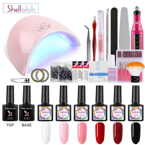 Shelloloh 6pcs Gel Nail Polish Starter Kit 36W UV LED Lamp Gel Polish Kit Top Base Coat