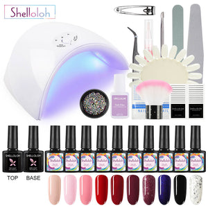 Shelloloh 10ml 10 Colors Nail Gel Nail Art Rhinestone 36W Nail Lamp Manicure Kit