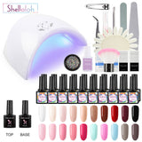 Shelloloh 20Colors Nail Gel Kit 36W Nail Lamp Manicure Tools Kit Nail Art Decoration Easy to use Long lasting