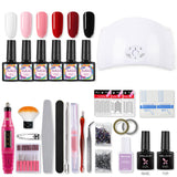 Shelloloh 36W Nail Lamp 10ml Nail Gel Beginner Kit Nail Accessories Complete Set of Manicure Tools Long-Lasting Easy To Remove