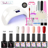 Shelloloh 6/8 Colors Nail Gel Polish 10ml Nail Art Base Top Coat Dryer Lamp Nail Drill Manicure Kit