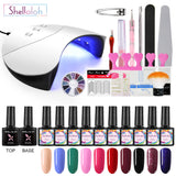 Shelloloh 10pc Nail Gel Kit Nail Lamp Pure Glitter Color Nail Lamp Manicure Tools Kit