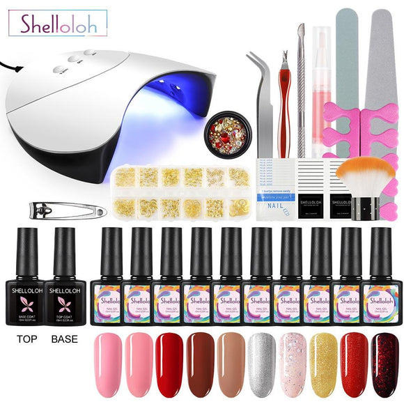 Shelloloh UV LED Manicure Kit 10 Color Gel Nail Polish Top Base Coat Set