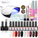 Shelloloh 8/10 pc Nail Polish Gel Soak Off Gel 10ml Nail Lamp Top Base Coat Manicure Tools Kit Nail Art Decoration Long Lasting