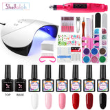 Shelloloh Pure Colors Nail Gel Soak Off Gel Glitter Powder Top Base Coat 36W Nail Lamp Drill Machine Nail Beginners Use All For Manicure Tools Kit