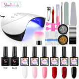 Shelloloh 36W UV LED Nail Lamp Nail Gel 6 Colors Top Base Coat Decorations For Nail Art Manicure Set Beginners