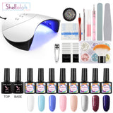 Shelloloh Nail Gel Soak Off Gel Polish 36W Nail Lamp Manicure Tools Kit Nail Art Decoration Top Base Coat