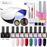 Shelloloh 8 Colors Nail Gel Glitter Gel DIY Nail Gel Manicure Decoration Nail Lamp Top Base Coat Manicure Tools Kit