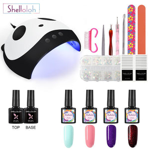 Shelloloh 4Pcs Nail Gel Polish Kit 36W UV LED Lamp Base Top Coat Nail Tools Kit Nail Art Nail Decoration
