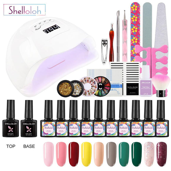 Shelloloh Nail Set 80W UV LED Nail Lamp Gel Polish Varnish Nail Art Design Manicure Tools Set