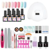 Shelloloh 36W Nail Lamp Nail Gel Soak Off Gel 8pc Nail Polish Gel Kit Nail Art Decoration Manicure Tools Kit Nail Drill Machine