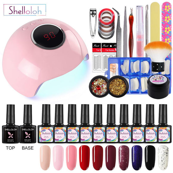 Shelloloh 10pcs Gel Nail Polish Starter Kit 24W UV LED Lamp Gel Polish Kit Top Base Coat