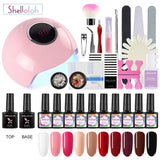 Shelloloh 36W Nail Lamp 8/10pc Nail Gel Soak Off Gel Kit Top Base Coat Manicure Tools Kit Nail Art Decoration Easy To use Starter Kit