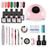 Shelloloh Starter Set 8pcs Gel Nail Polish 24W UV LED Lamp Kit Design Tools for Nail Art