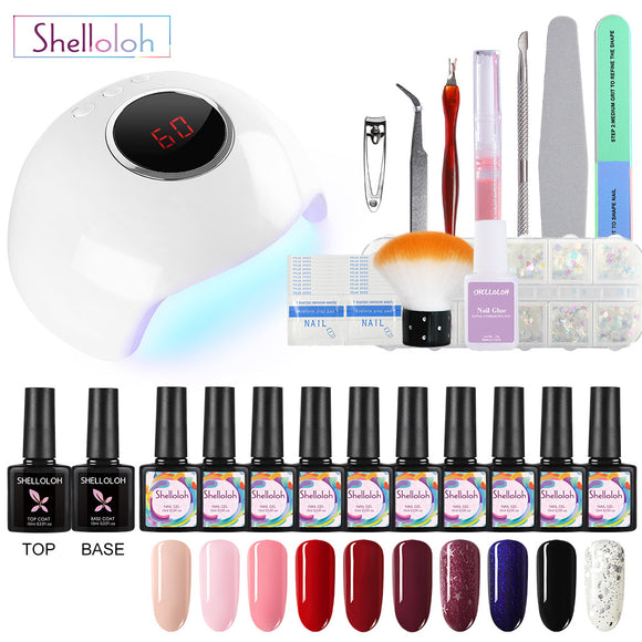 Shelloloh 10pc Nail Gel Polish Soak Off Gel Nail Lamp Manicure Tools Kit