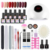 Shelloloh 10Pcs Gel Polish Kit 10ml Soak off Gel Nail Tools Kit 24W Nail Lamp Kit