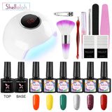 Shelloloh 6/8Pcs Gel Polish Starter Kit with LED lamp Nail Polish Base Top Coat Nail Tools Kit Nail Art