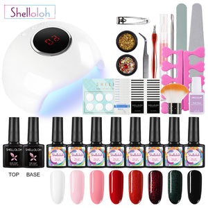Shelloloh Nail Polish Gel Soak Off Gel Nail Lamp Nail Art Decoration Manicure Tools Kit 8/10pc Pure Glitter Color Long Lasting Easy To Use