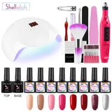 Shelloloh 8pc Nail Gel Soak Off Gel Polish Gel Pure Color Glitter Color Nail Lamp Nail Drill Machine Manicure Tools Kit Easy To use
