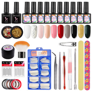 Shelloloh Gel Polish 10 Colors 10ml Top Coat Base Coat Nail Art Kit Manicure Nail Decals Nail Care (Without Nail Lamp)