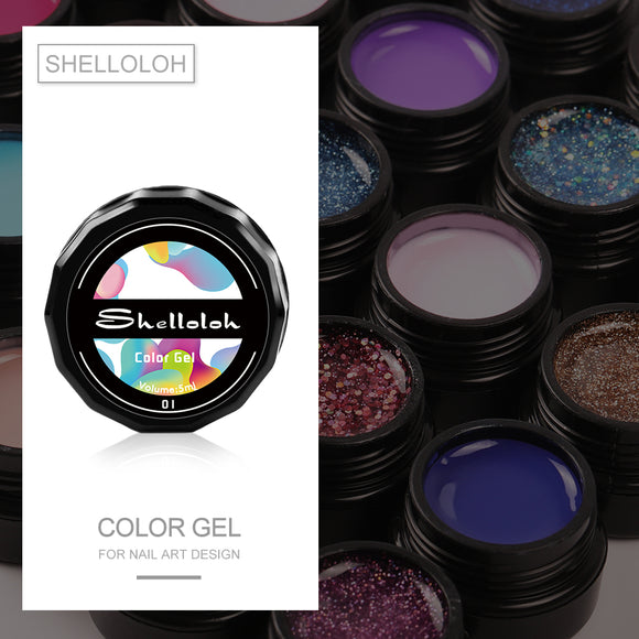 Shelloloh 1Pc 5ml UV Gel 37 Colors Pure Color Glitter Color Soak Off Gel
