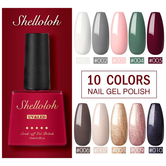Shelloloh 10 Colors Nail Gel Polish 15ml Glass Bottle Gel Varnish