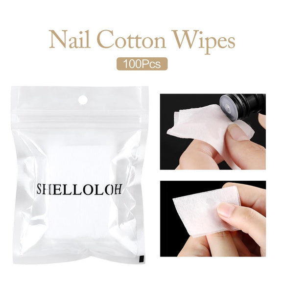 Shelloloh 100pcs Nail Wipe Cotton Cosmetic Manicure Remover Cleaning Tool
