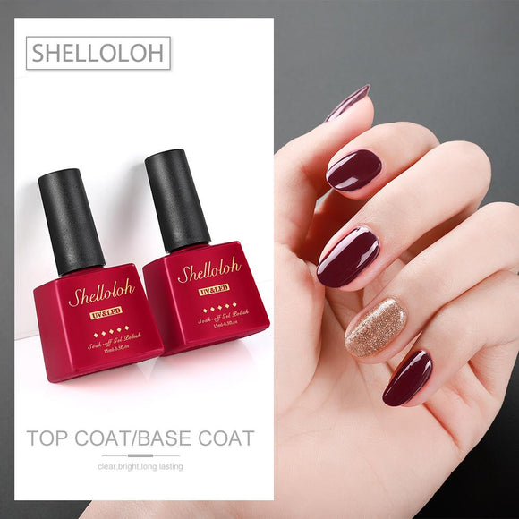 Shelloloh 15ml Glass Bottle Primer Base Coat Top Coat Set Nail Gel Polish Kit