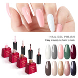 Shelloloh 10Pcs Nail Gel Polish Set 15ml Glass Bottle Gel Varnish Base Top Coat Kit