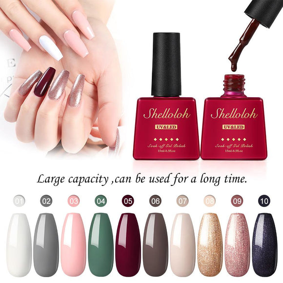 Shelloloh Set of 10 Colors Nail Gel Polish 15ml Glass Bottle Gel Varnish Soak Off Base Top Coat Kit