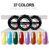 Shelloloh UV Gel 5ml 10 Colors Gel Kit Popular Color Glitter Gel Easy To Use Long Lasting Nail Salon Home Use