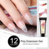 Shelloloh Poly Gel 15ml 12pc Crystal Quick Builder Gel 36W UV/LED Lamp 30ml Cleanser Plus Nail Extension Building Gel Nail Art Kit