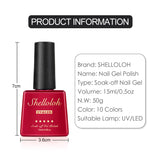 Shelloloh 4pcs Nail Gel Set Soak Off Gel Polish Pure Glitter Color Set