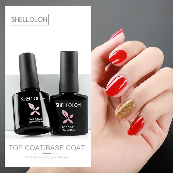 Shelloloh 10ml Top Base Coat Glass Bottle Primer Base Coat Top Coat Set