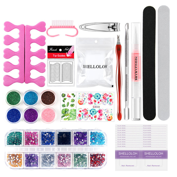 Shelloloh Nail Art Tools Set Acrylic Powder Cuticle Oil Nail Decorations Strass Nail File Nail Gel Remover Wrap Nail Stickers