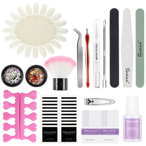 Shelloloh Nail Art Tools Set Nail Decals Rhinestones Strass Cuticle Oil Nail File Nail Gel Remover Wrap Fake Nail Glue