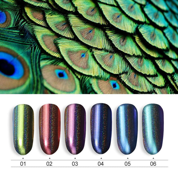 Peacock Holographic Nail Powder Mirror Powder Chrome Pigment Laser Glitter