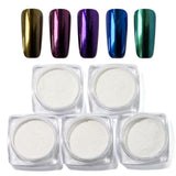 5 Colors Nail Mirror Powder Glitter Nail Powder Nail Art Double Ended Brush