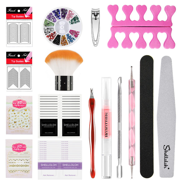 Shelloloh Nail Art Set Cuticle Oil Nail Decoration Nail Stickers Nail File Nail Gel Remover Manicure Set