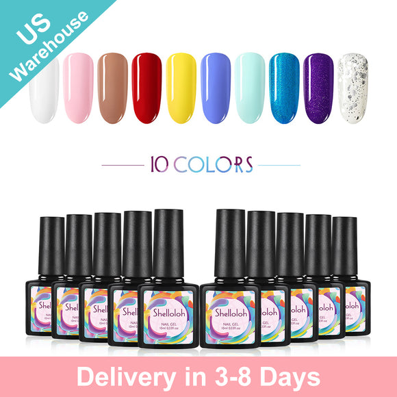 Shelloloh 10 Colors Gel Polish 10ml Nail Art Set Nails Varnish Soak Off (Only for US Delivery)