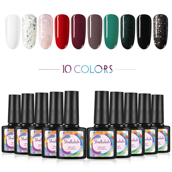 Shelloloh 10pcs Nail Gel Polish 10ml Soak Off Nail Gel Set