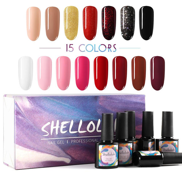 Shelloloh 15Pcs Gel Lacquer Kit 10ml Soak off Gel Nail Art Kit